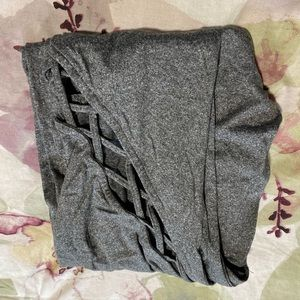 Rue21 Grey Leggings with Criss Cross Detail